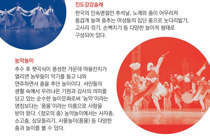 진도강강술래 한국의 호남지방 진도에서 전해져 오는 소리 춤으로 한국의 민속명절인 팔월 보름 둥근 달이 떠오를 때 노래와 춤이 어우러져 흥겹게 놀며 춤추는 여성들의 집단 춤으로 놋다리밟기, 고사리 꺾기, 손뼉치기 등 다양한 놀이적 형태로 구성되어 있다.  농악놀이 추수 후 햇곡식이 풍성한 가운데 마을잔치가 열리면 농부들이 악기를 들고 나와 연주하면서 춤을 추던 놀이이다. 서민들의 생활 속에서 우러나온 기원과 감사의 의미를 담고 있는 순수한 놀이문화로써 '농악'이라는 명칭보다는 '풍물'이라는 이름으로 사랑을 받아 왔다. <정오의 춤> 농악놀이에서는 사자춤, 소고춤, 상모돌리기, 사물놀이(풍물) 등 다양한 춤과 놀이를 볼 수 있다.