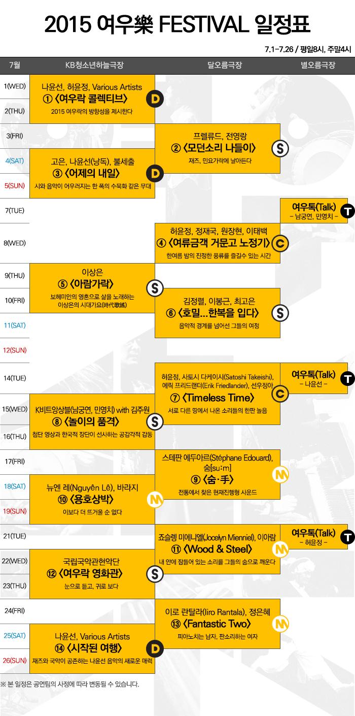 2015 여우락 Festival 일정표 / 7.1~7.26 평일8시 주말4시 / 자세한 일정은 고객지원실 02-2280-4114~6으로 문의하시기 바랍니다.