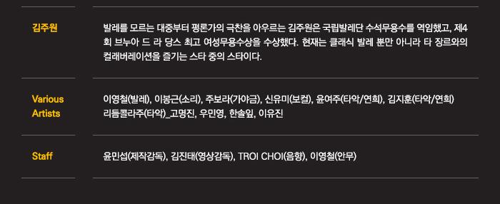 Various Artists: 이영철(발레), 이봉근(소리), 주보라(가야금), 신유미(보컬)